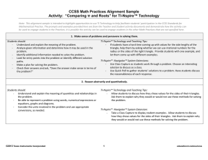 CCSS Math Practices Alignment for TI-Nspire