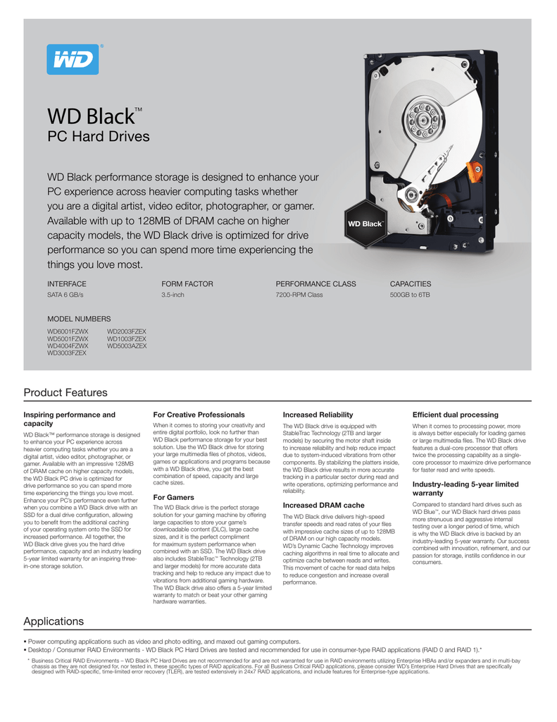 WD Black PC HD Series Specification Sheet