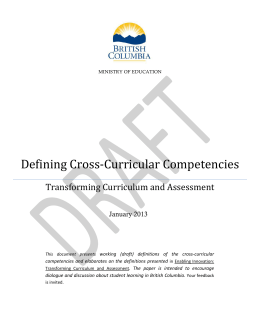 Defining Cross-Curricular Competencies