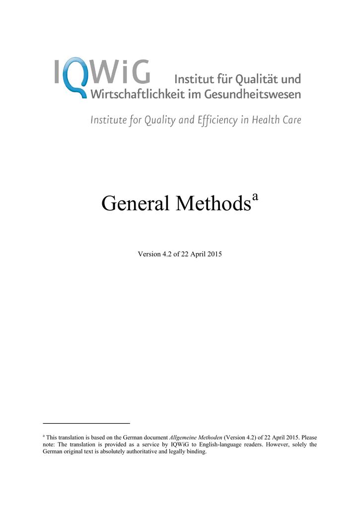 IQWiG - General Methods