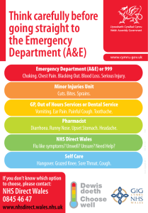 Think carefully before going straight to the Emergency Department