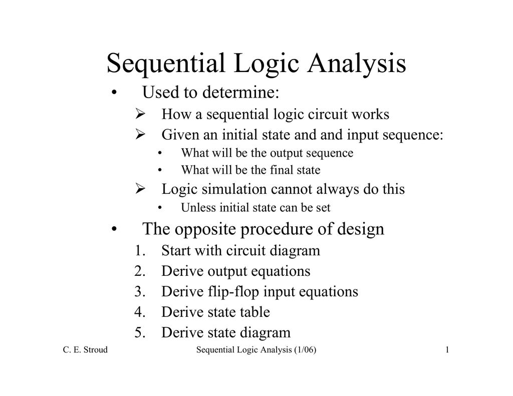 Sequential Logic Analysis Circuit Diagram Equations