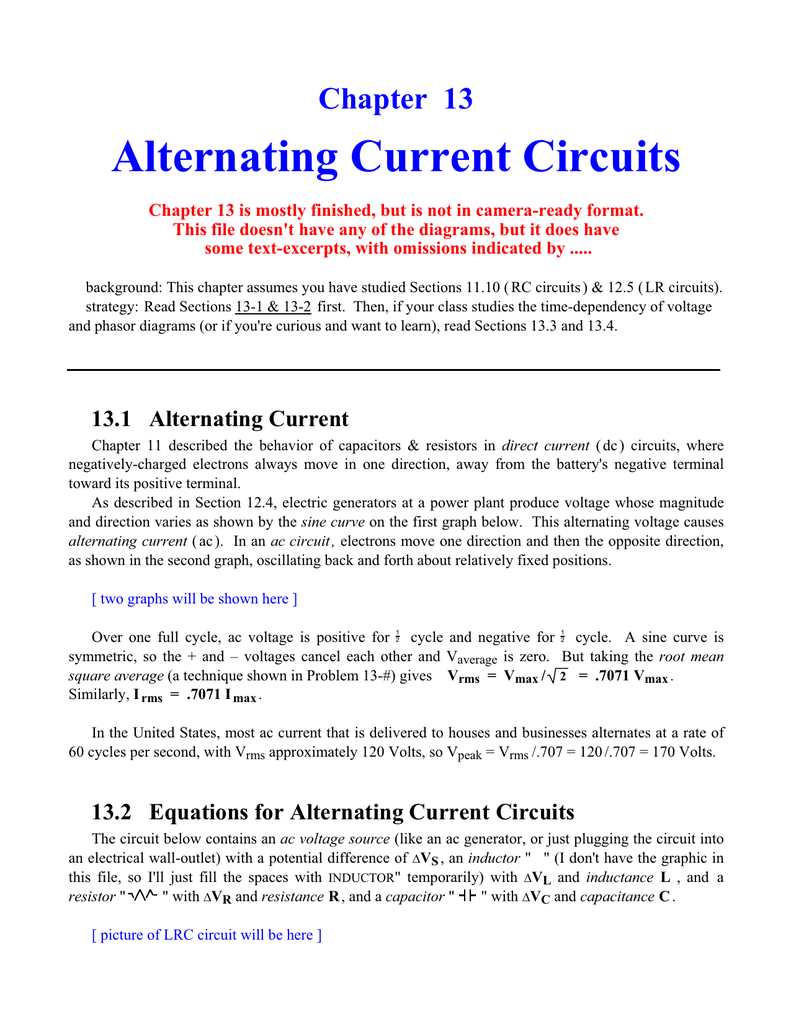 Chapter 13 Alternating Current Circuits Diagram 018231098 1 763edfb6a5966791b8c3a41046f18723