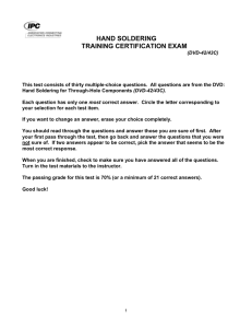 HAND SOLDERING TRAINING CERTIFICATION EXAM