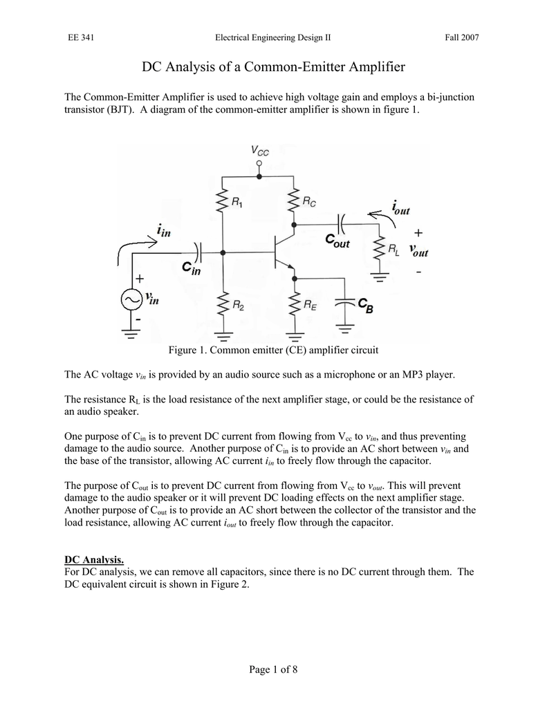 Dc Analysis Of A Common Emitter Amplifier Transistor Circuit