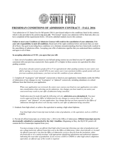 Conditions of Admissions Contract - Frosh 2016