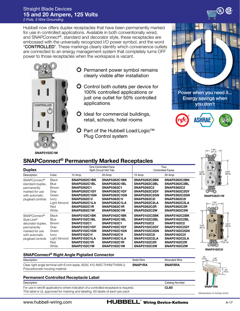 Snapconnect Permanently Marked Receptacles 15 And 20 Amp Gfi Gfci Wall Receptacle Brown Black Gray Almond Ivory White