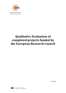 Qualitative Evaluation of completed projects - ERC