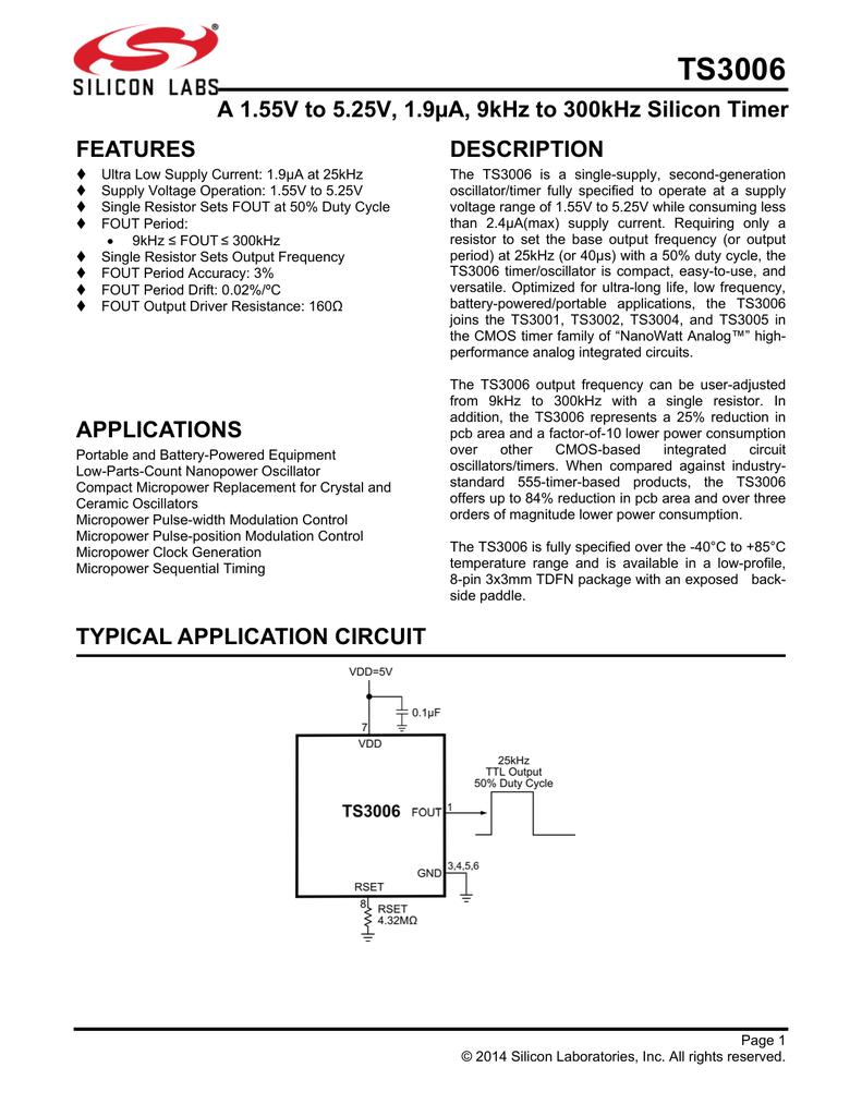 Ts3006 Silicon Labs Oscillator 555 50 Duty Cycle Circuit Schematic Diagram