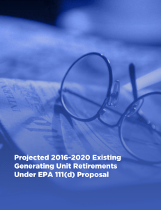Projected 2016-2020 Existing Generating Unit Retirements Under