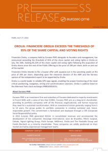 financiere orolia exceeds the threshold of 95% of the