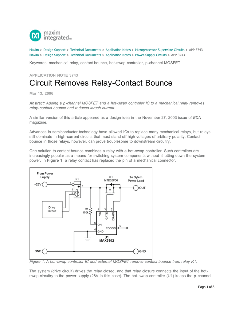 Circuit Removes Relay Contact Bounce Application Note The Polarity Control Is Switched Off When Q1 Covered By