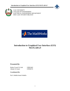 Introduction to Graphical User Interface (GUI) MATLAB 6.5
