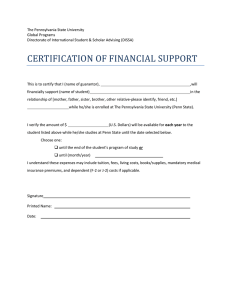 certification of financial support