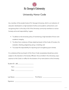 Honor Code - St. George`s University