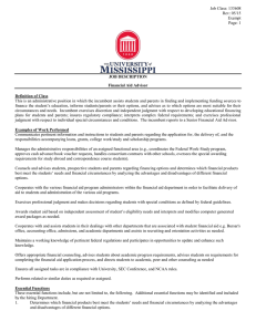 JOB DESCRIPTION Financial Aid Advisor
