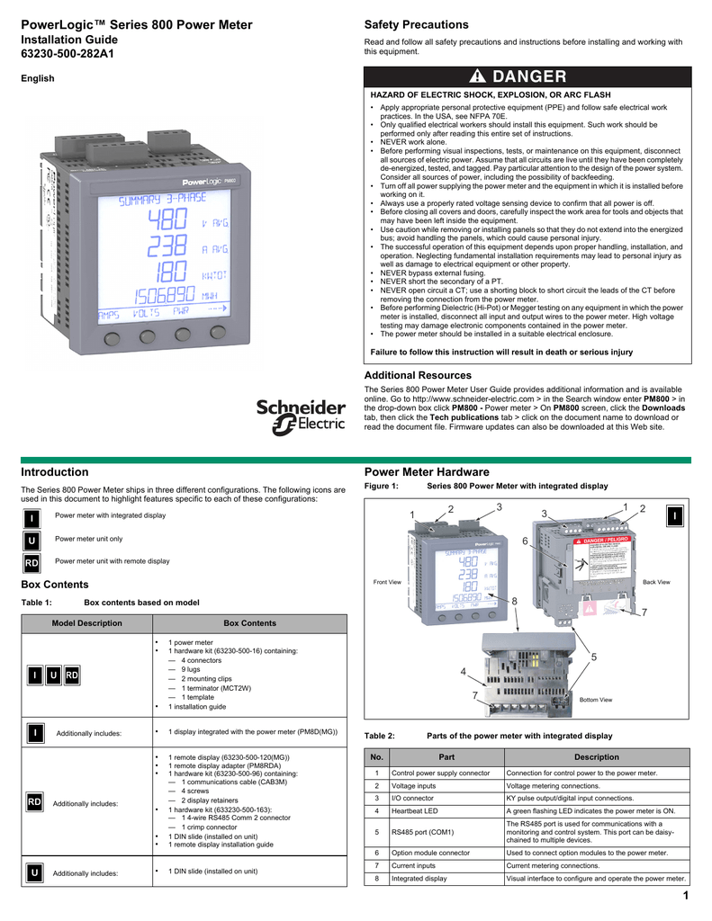 "powerlogicâ""¢ series 800 power meter installation"