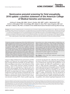 Noninvasive prenatal screening for fetal aneuploidy, 2016 update: a