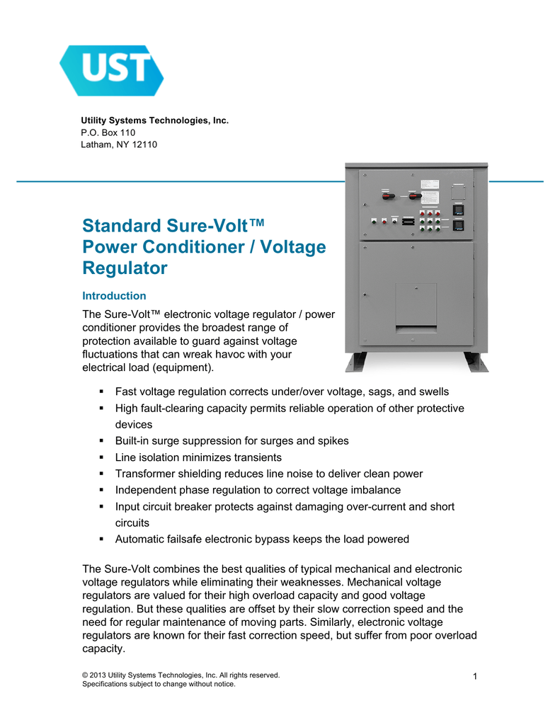 Standard Sure Volt Power Conditioner Voltage Regulator Of Automatic Control And Regulation Its Input