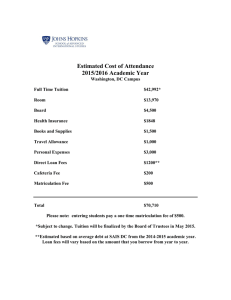 Estimated Cost of Attendance 2015/2016 Academic Year