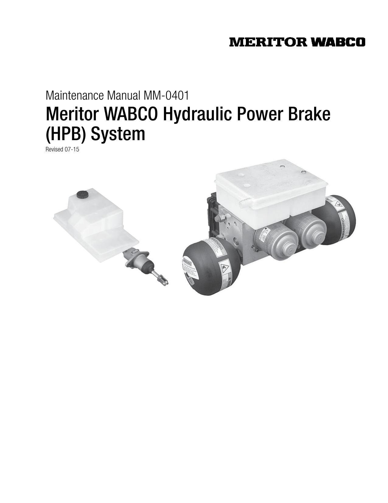 Meritor WABCO Hydraulic Power ke (HPB) System on