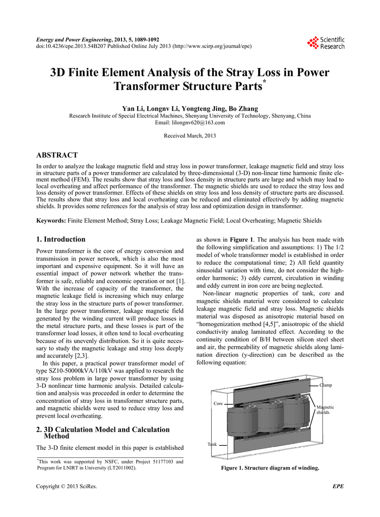 3D Finite Element Analysis of the Stray Loss in Power