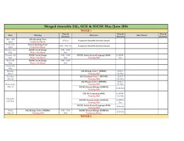 IGCSE-IAL-GCE Exam Timetable May