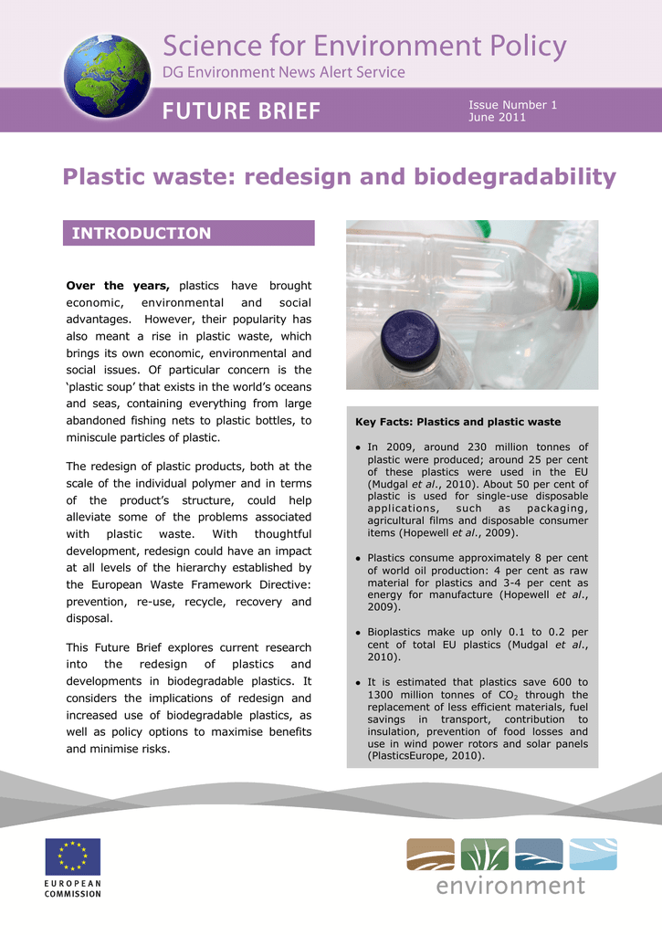 Plastic waste: redesign and biodegradability