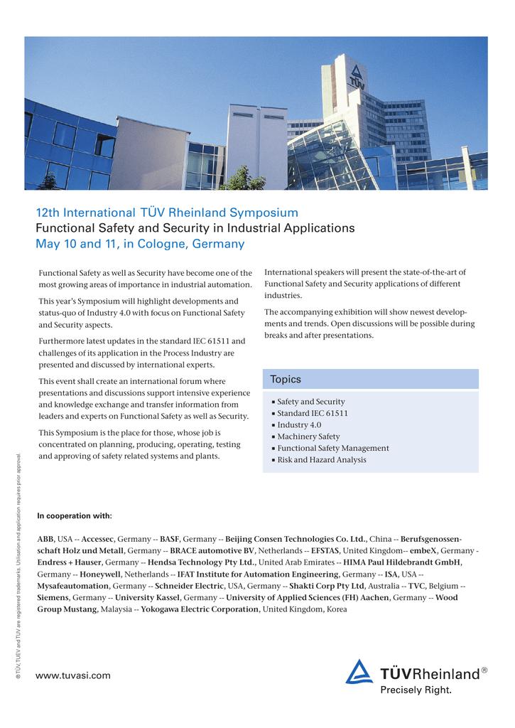 12th International TÜV Rheinland Symposium Functional Safety and