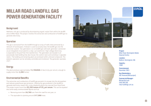 MILLAR ROAD LANDFILL GAS POWER GENERATION FACILITY
