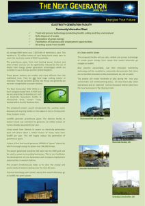 ELECTRICITY GENERATION FACILITY Community Information Sheet