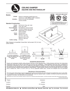 Square or Rectangular - Butterfly Style Ceiling Damper