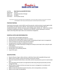 Back Gate Security/GM RO Writer POSITION PURPOSE