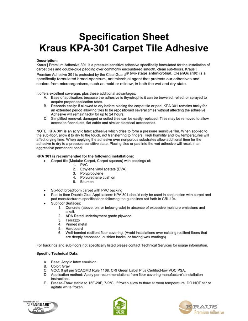 Specification Sheet Kraus Kpa 301 Carpet Tile
