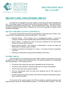BRAND NAME AND GENERIC DRUGS