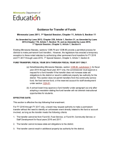 Guidance for Transfer of Funds - Minnesota Department of Education