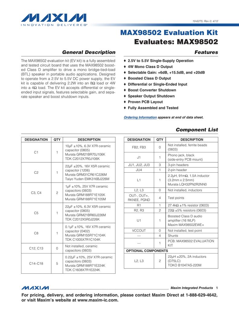 MAX98502 Evaluation Kit Evaluates: MAX98502
