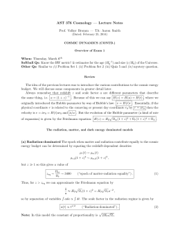 AST 376 Cosmology — Lecture Notes