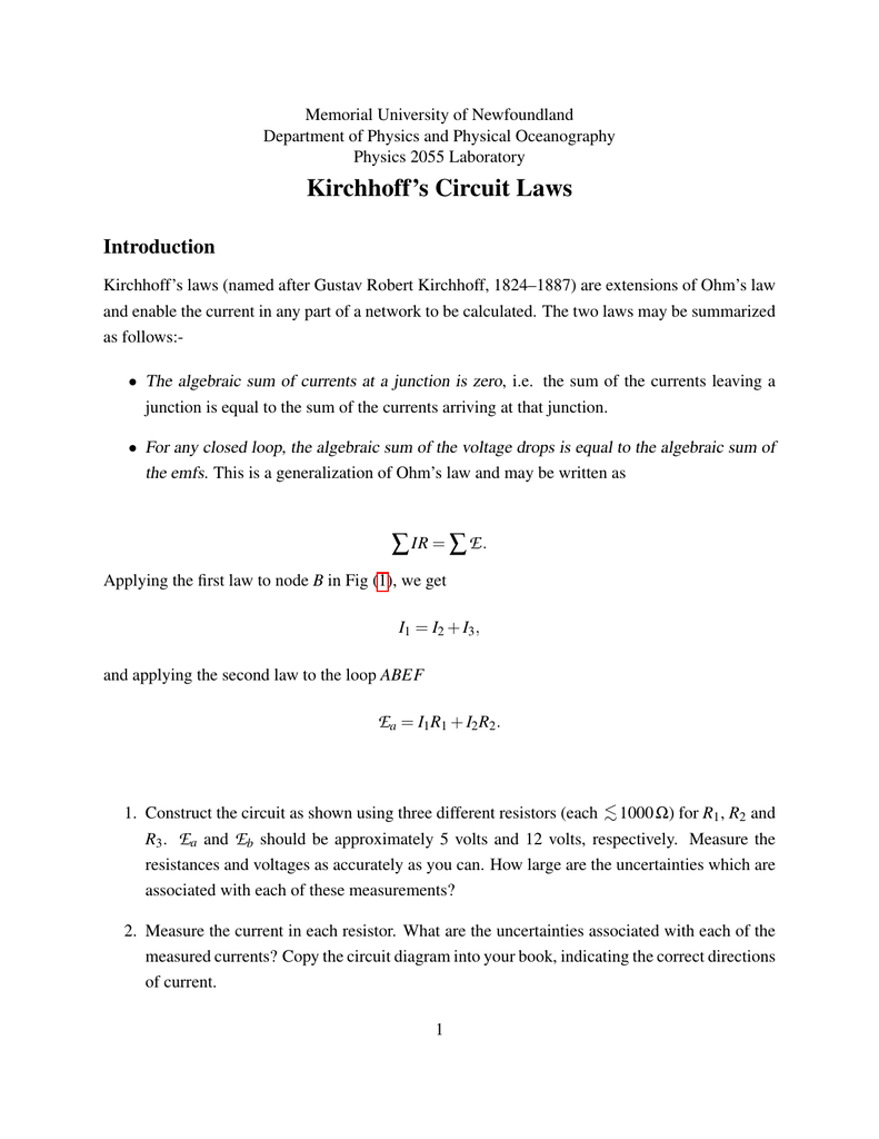 Kirchhoffs Circuit Laws Physics And Physical Oceanography 5 Volt Diagram