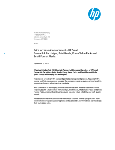 Price Increase Announcement – HP Small Format Ink Cartridges