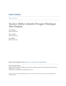 Teachers` Ability to Identify Divergent Thinking in - Purdue e-Pubs