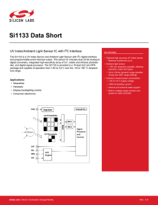 Si1133 Data Short -- UV Index/Ambient Light Sensor IC with I2C