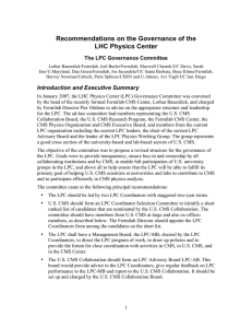 Recommendations on the Governance of the LHC Physics Center