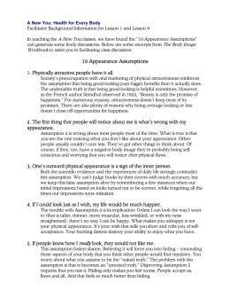 10 Appearance Assumptions
