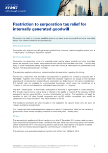 Restriction to corporation tax relief for internally generated
