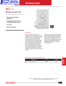 RCU–1 Remote Control Unit - Faber Industrial Technologies