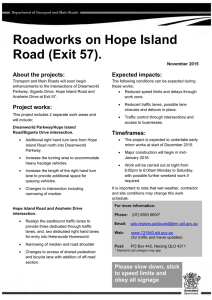 Roadworks on Hope Island Road - Department of Transport and