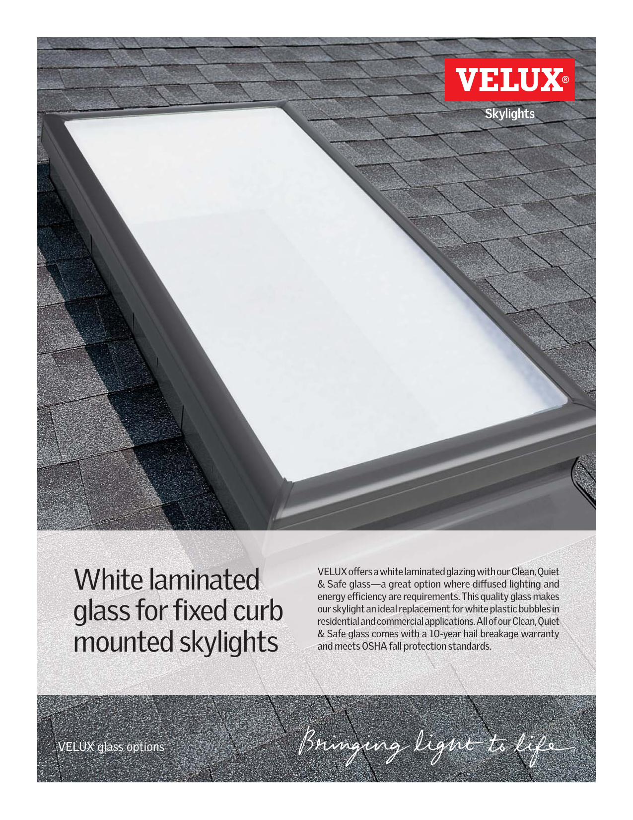 White Laminated Glass For Fixed Curb Mounted Skylights