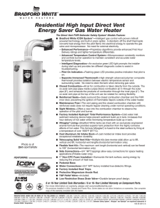Residential High Input Direct Vent Energy Saver Gas Water Heater