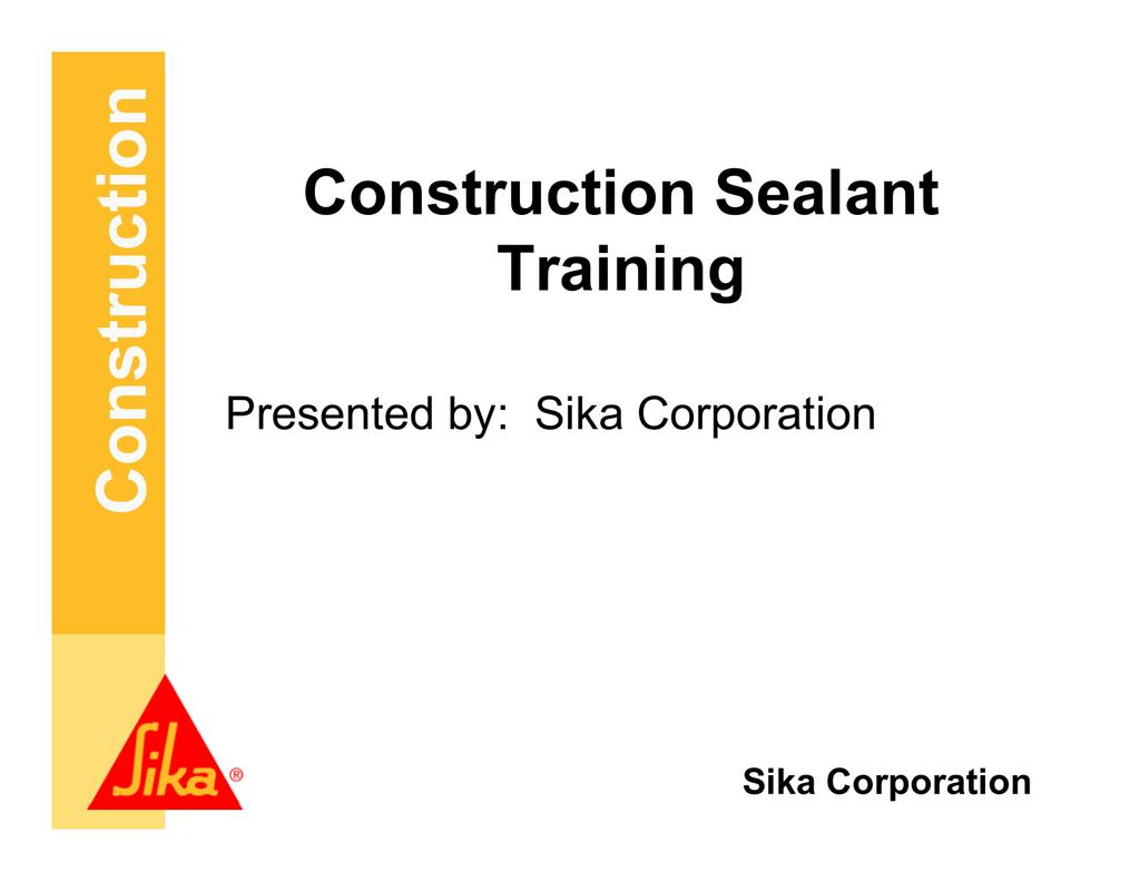 Construction Sealant Training